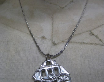 Stagecoach Carriage Silver Necklace Vintage Pendant Buggy