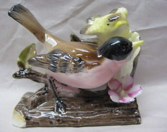 Bird Baby Figurine Porcelain Vintage Yellow Pink Brown Foreign