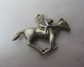 Horse Racer Charm Silver Vintage