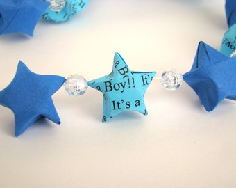 "Baby Shower Garland in Blues - ""It's a Boy"" Lucky Stars"