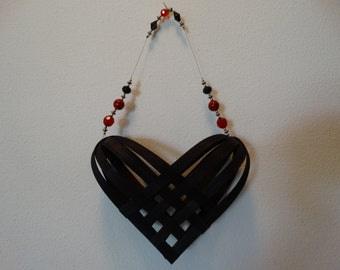 Hand Woven Basket heart in Black with beaded handle.  Heart Basket.  Hand Made baskets in fun colors!
