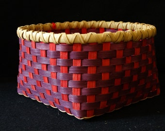 Hand Woven Basket in Purple and Red. Storage Basket. Baskets. Basket. Hand made baskets in fun colors!