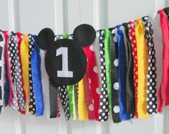 Rag Tie Garland ~Mickey Mouse Clubhouse Set ~Photography Prop Backdrop  ~Birthday Banner ~Fabric Bunting ~Highchair banner ~Rainbow Garland