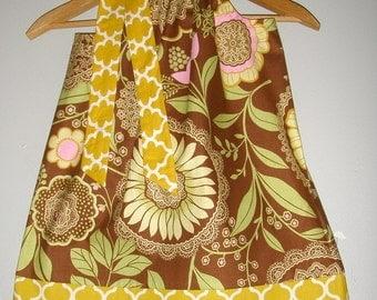 Brown yellow pink floral Amy Butler Lotus fabric 3,6.9.12.18  months ,2t,3t,4t,5t,6,7,8,10,12