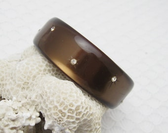 Vintage Rhinestone Bangle Bracelet Brown Moonglow Cuff Jewelry B6243