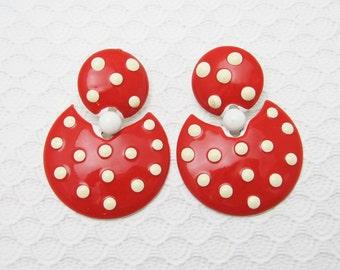 Bold Red Polka Dot Earrings Sixties Mod Vintage Jewelry E6280