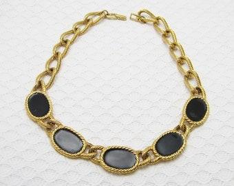 Wide Chain Necklace Napier Black Enamel Jewelry N6333