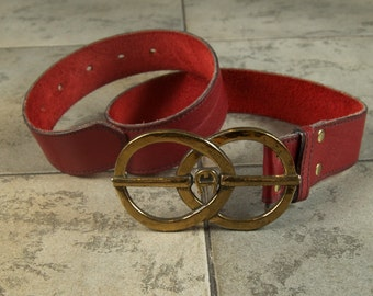 Beautiful Aigner Red Leather Vintage Belt With Logo Buckle ret