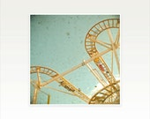 Roller Coaster, Abstract Photography, Carnival Photography, Gift for Man, Summer Colors, Yellow, Pastel Blue - Tracks