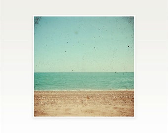 Beach Photography, Seaside Decor, Coastal Art, Ocean, Aqua, Light Brown, Minimalist Art - Footprints