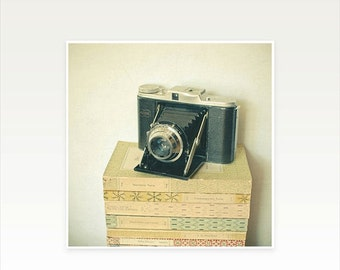 SALE 25% OFF Camera Art, Still Life Photo, Book Photography, Gift for Writer, Reading Print for Book Lovers, Library Wall Decor - Memories