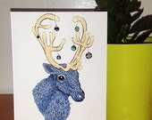 "Blue Reindeer Christmas Card 5x7"""