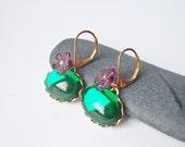 Emerald City  - Vintage Glass Earrings