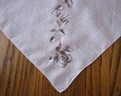 Monogrammed Vintage Handkerchief, Ruth Handkerchief,  Ruth Monogrammed Handkerchief, Embroidered Silver Handkerchief, Vintage Handkerchief,