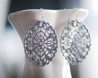Athena Earrings - Solid Sterling Silver Ear Wires - Brass Filigree Stampings - Insurance Included