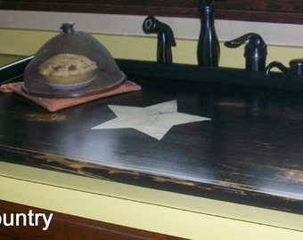 Primitive Breadboard Kitchen SINK COVER black with cream large star - Lg  or Stove Top  Board Cover