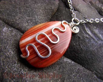 Banded Agate Pendant Necklace - Hammered Nickel-Free Silver-Filled Wire Wrapped Squiggle, Natural Red & Orange Gemstone, Silver Plated Chain