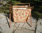 Vintage Large Knitting Sewing Needlework Collapsible Folding Basket Tote Portable Caddy Wood and Retro Floral Fabric