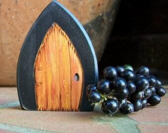 Wood Fairy Door Magnet  2 1/2 inch Magic Gothic Portal, Elegant Black and Natural Brown