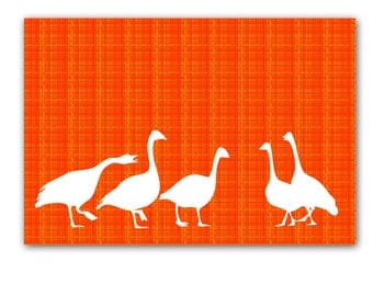 Ducks in fall season - Ducks art print, autumn colors, nursery decor, nursery ducks