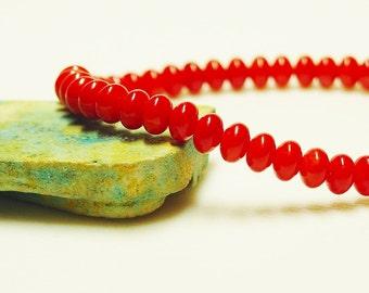 Red Coral Bracelet / Coral Bracelet / Bright Red / Simple / Classic / Stacking Bracelet / Stretch Bracelet / Beaded Coral Bracelet / Poppy