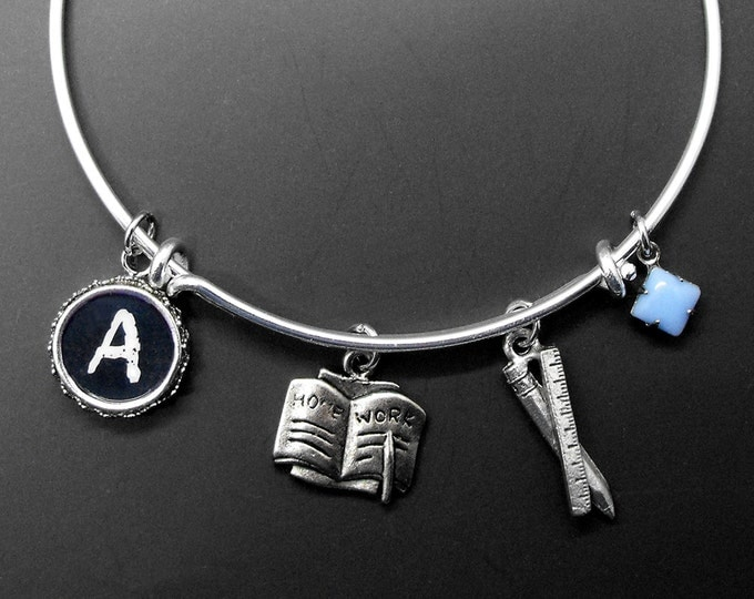 Teacher Bracelet Adjustable Stackable Bangle Personalized Initial