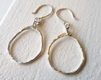 Andi Earrings Free form, Recycled, Argentium Sterling Silver, Organic, Textured, Hammered Circle Earrings