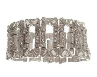 Wide Art Deco Bracelet, Vintage Rhinestone Link, 1920s Art Deco Jewelry, Wedding Cuff