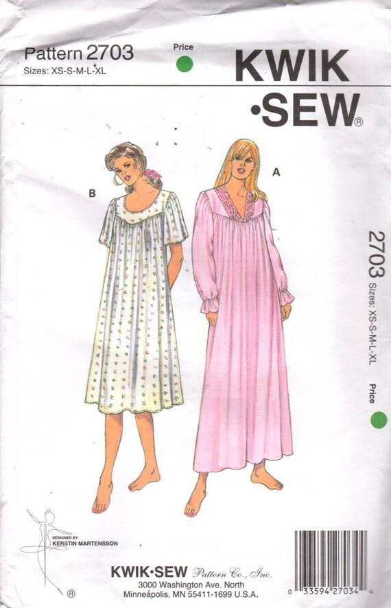 Kwik coser 2703 pierde fácil camisón patrón de cuello en V o escote ...