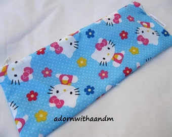 Zippered pencil case made with blue Hello Kitty fabric, flowers, retro, classic girl, zippered pouch, school supply, homeschool, organizer