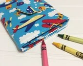 Crayon Wallet Airplanes flying high  Children's Coloring Hip Trendy Toddler Travel - Ready to ship