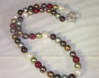 Swarovski Pearl Jewelry  - Bride, Bridesmaid, Maid of Honor - Swarovski Dark Green, Dark Brown, Bordeaux, Light Green, Bronze and Cream
