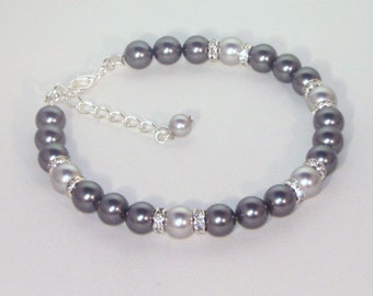 Swarovski Pearl & Crystal Jewelry - Dark Gray and Light Gray - Made to Order - Any 2 colors