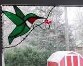 Hummingbird stained glass window corner / bird /  top left / gift