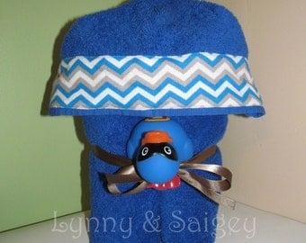 Blue Chevron Hooded Bath Towel for kids.