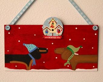 Dachshund Dog Christmas Door Decoration  Warm Winter Wishes