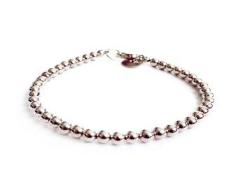 Bracelet - 4mm Sterling Silver Bead Bracelet - Everyday Wear - Sterling Ball Bracelet - Simple Sterling Bracelet - Stacker Bracelet