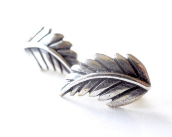 Silver Fern Leaf Studs - 925 Sterling Silver - Feather Earrings - Plant Stud - Protection - Forestry - Nature