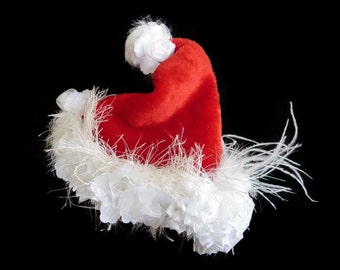 "Toddler Girl's Santa Hat Photo Prop, Trendy Toddler Christmas Boutique Accessory - ""Sassy Santa"""