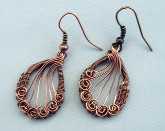 Woven Copper Wire Earrings, Hand Woven Antique Copper Wire Earrings
