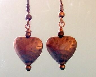 Unique Copper Earrings, Antique Copper Puffed Heart Dangle Earrings