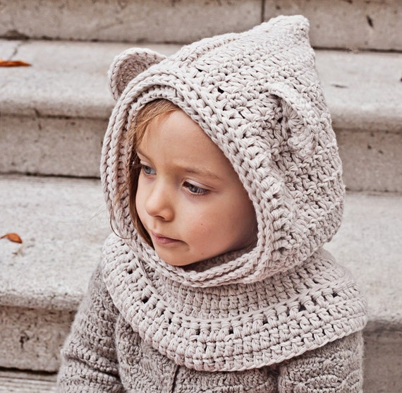 Crochet Baby Bear Cowl Pattern : Crochet hat PATTERN - Polar Bear Hooded Cowl (baby to ...