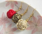 Gold Layer Rose Earrings, Black Rose, Red Rose, Ivory Rose, Large Flower Retro Earrings, Wedding Party Jewelry