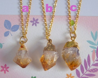 Rough Citrine Necklace, Gold Chain, Crystal Healing, Citrine Pendant, Brithstone Jewelry, Healing Stone Necklace