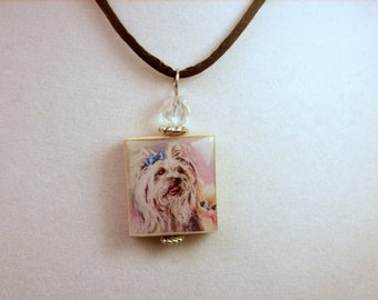 Maltese Scrabble Pendant / Beaded / Charm / Necklace / Dog Jewelry / Stocking Stuffer