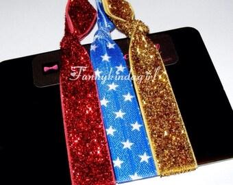 Hair Ties Set Wonder Woman Inspired Red Gold Glitter Blue White Star Bracelet Printed FOE Wristbands 5/8 inch Elastic Sparkle Superhero