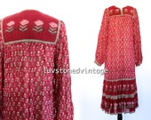 SOLD - Vintage 70s Starina India Tent Gauze Red Burgundy Cotton Boho Hippie Indian Ethnic Festival Maxi Dress . XS/S . 873.10.2.14