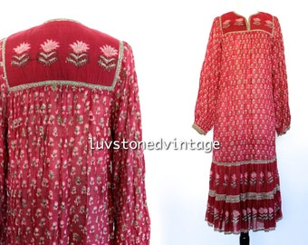 Vintage 70s Starina India Tent Gauze Red Burgundy Cotton Boho Hippie Indian Ethnic Festival Maxi Dress . XS/S . 873.10.2.14