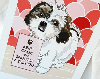 Keep Calm Shih Tzu with Ruby/Pink Scaled Background - 7x9 Eco-friendly Print