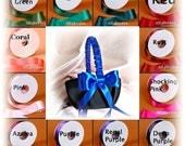 Weddings Flower girl basket, black and royal blue weddings or choose custom satin ribbon color.